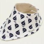Organic Cotton Dribble Bib - Blue and White Sail Boats - Nautical Bandana Dribble Bib