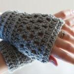 Grey Crochet Wrist Warmers