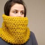Chunky Crochet Cowl in Mustard Yell..