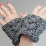 Grey/Gray Cable Knit Wrist Warmers ..