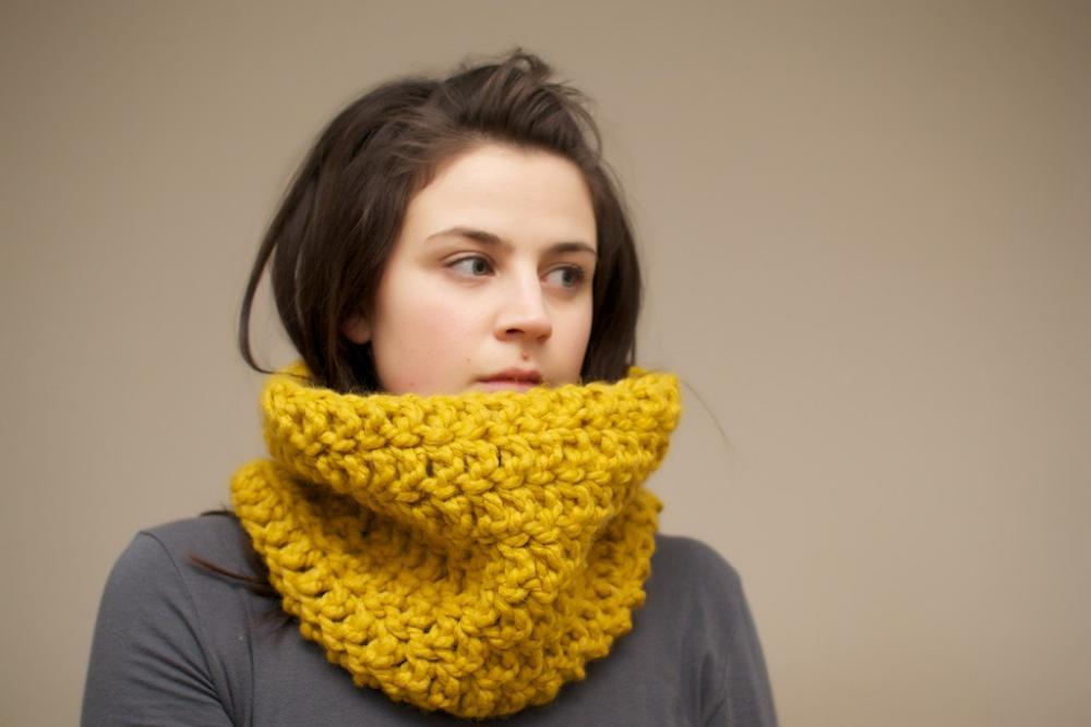Chunky Crochet Cowl in Mustard Yellow