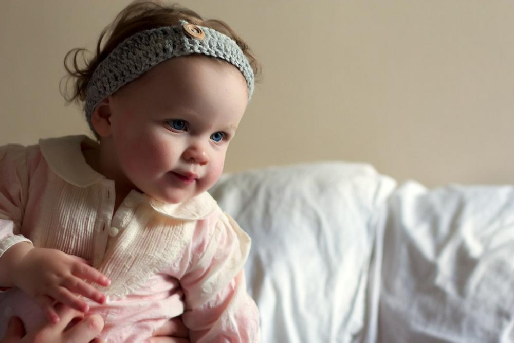 Girls Crochet Headband - for babies or girls in Grey/Gray