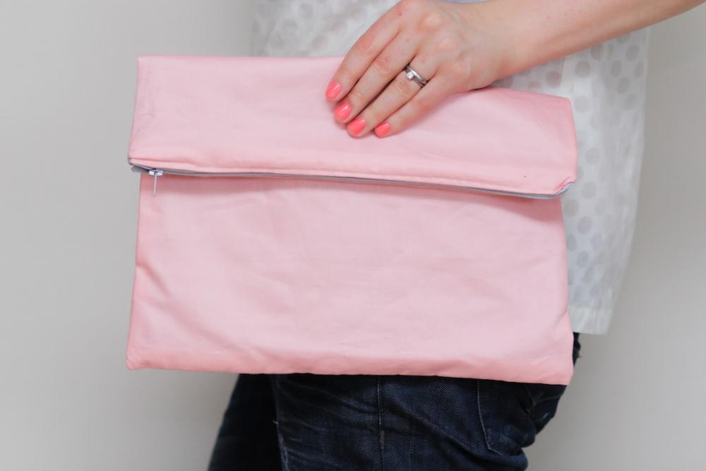 Fold over Zipper Clutch in Pastel Pink with Slate Grey (gray) lining
