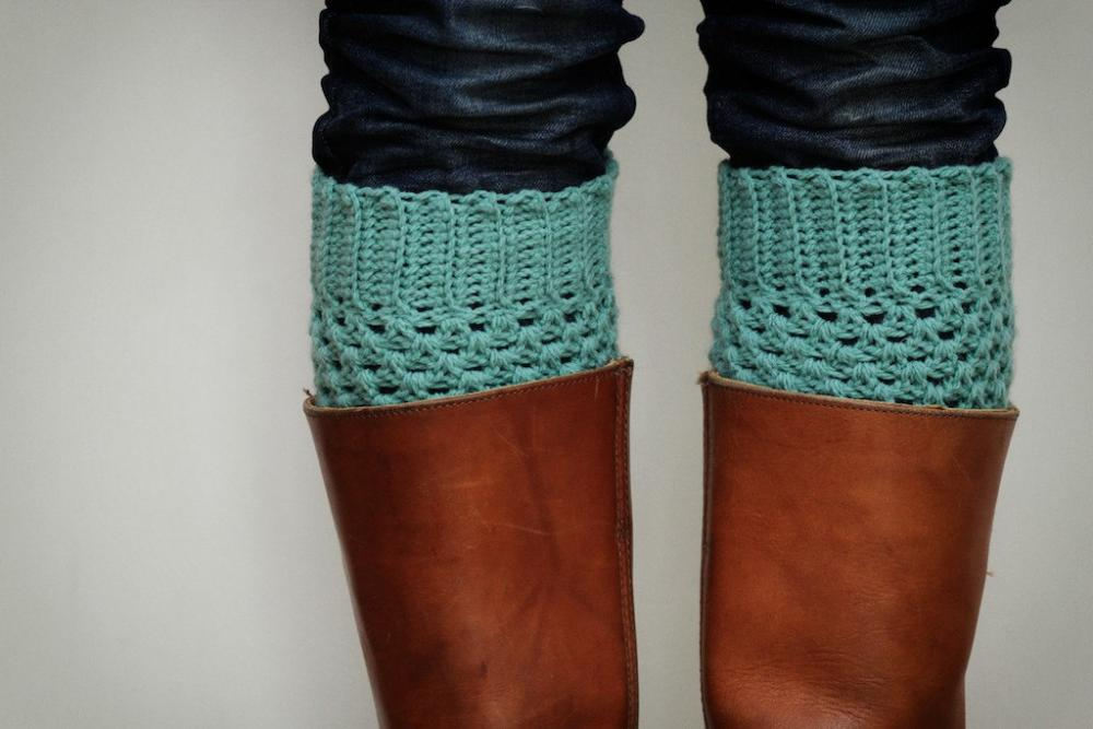 Crochet Boot Cuffs in Pastel Mint Green