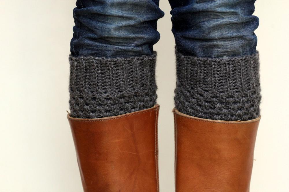 Crochet Boot Cuffs in Dark Slate Grey/Gray