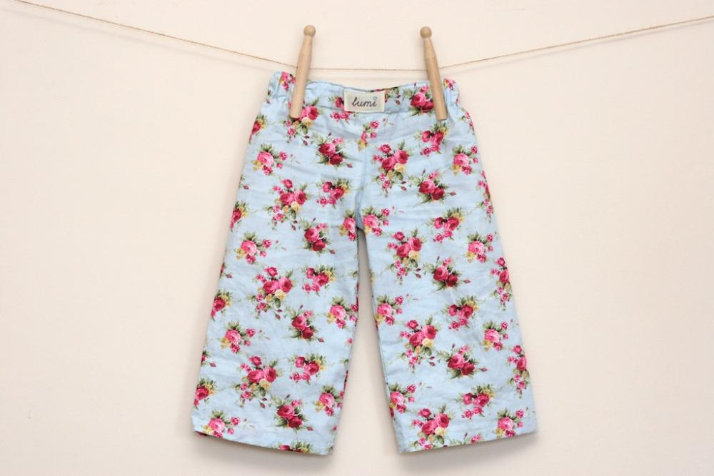 Kids Pyjama Pants - Cotton PJ Pants - Floral Cotton pyjama bottoms for babies and children - Rosy Posey pyjamas s for kids