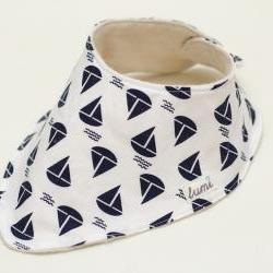 Organic Cotton Dribble Bib - Blue and White Sail Boats - Nautical Bandana Dribble Bib