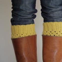 Crochet Boot Cuffs in Mustard Yellow