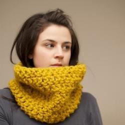 Chunky Crochet Cowl in Mustard Yellow