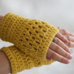 Mustard Yellow Crochet Wrist Warmers