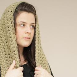 Chunky Crochet Infinity Loop Cowl in Olive Green