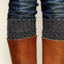 Crochet Boot Cuffs in Dark Slate Grey/Gray