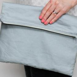 Fold over zipper clutch in slate grey (gray) with lemon yellow lining