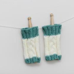 Cable Knit Wrist Warmers - Cream with Mint Green trim