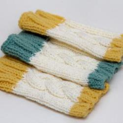 Cable Knit Wrist Warmers - Cream with Mustard Yellow trim