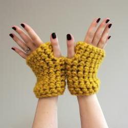 Mustard Yellow Chunky Crochet Wrist Warmers - fingerless gloves in Mustard Yellow