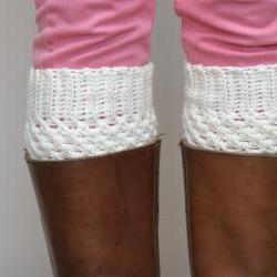 Crochet Boot Cuffs in Cream - Vanilla Cream Boot toppers